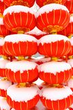 Chinese red lantern on snow Stock Images