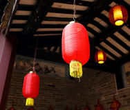 Asian Chinese red lantern light China Asia, paper lamp lighting. Traditional Asian Chinese red lanterns lamp. Chinese paper lantern light with classical design Stock Image