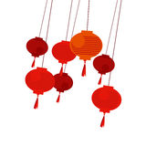 Chinese red lantern. Vector illustration Stock Image