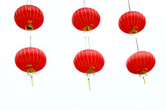 Chinese Red Lanterns. On White Background Stock Photos