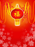 Chinese red lanterns. On red festive background with snowflake and fashion pattern,the chinese calligraphy on it means happiness Royalty Free Stock Images