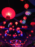 Chinese red lanterns hanging in street at night during the Chine Royalty Free Stock Photos