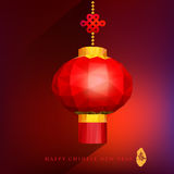 Chinese red lanterns on light gradient background with low poly. Style for Chinese New Year, Chinese character chun  meant  is spring Royalty Free Stock Images