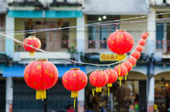 Chinese red lanterns on a string Royalty Free Stock Image