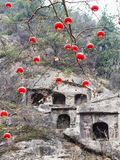 chinese red lanterns of tree branches and caves Stock Images