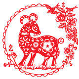 Chinese red Luck sheep illustration. In paper cut style Stock Images