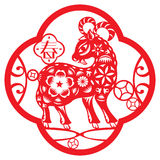 Chinese red Luck sheep illustration Royalty Free Stock Images