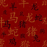 Chinese red maroon oriental background with zodiac signs Royalty Free Stock Photos