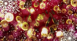 Chinese red new year seamless loopable background with coins, snowflakes 4k. Chinese red new year seamless loopable background with coins, snowflakes Loop, 4K