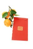 Chinese red packet and mandarin oranges Stock Photography