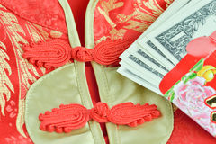 Chinese Red Packet and Qipao Traditional chinese dress or mandar Royalty Free Stock Photography