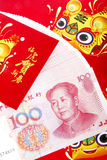 Chinese red packets.(tiger year). Chinese lunar tiger year red packets and Renminbi currency Royalty Free Stock Photo