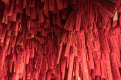 Chinese red paper for make a wishes in Chinese temple. At Srichang island in Chonburi province, Thailand Royalty Free Stock Images