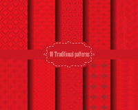 Chinese red pattern. 10 different chinese vector patterns. Endless texture can be used for wallpaper, pattern fills, web page background,surface textures Stock Image