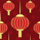 Chinese Red Seamless with Gold Lanterns. Chinese New Year Red Seamless Background with Gold Lanterns for 2017 Design and Celebration. Pattern Texture can be used Royalty Free Stock Photo