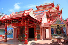 Chinese red temple. Ancient chinese red temple wide shot royalty free stock photos
