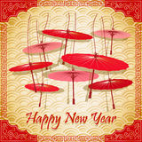 Chinese red umbrellas on abstract background. Traditional Chinese red umbrellas on abstract background. Vector illustration Stock Photography