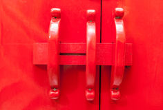 Chinese red wooden door. stock photography