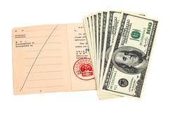 Chinese-Reisenerlaubnis und US-Dollars Lizenzfreies Stockfoto