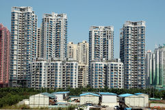 Chinese residential area. China, Guangdong province, Shenzhen city. Modern residential area in Futian district Royalty Free Stock Images