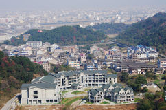 Chinese residential areas  in a valley Royalty Free Stock Photos