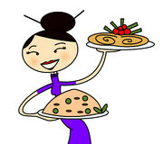 Chinese restaurant. Illustration for chinese restaurant with a chinese young girl as waiter carrying 2 plates of food Royalty Free Stock Photography