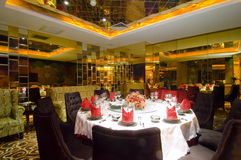 Chinese restaurant. Interior of an ultra modern fine dining Chinese cuisine restaurant Stock Images