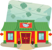 Chinese Restaurant. Cartoon illustration of Chinese restaurant and lanterns in the background. Eps10 Royalty Free Stock Photography