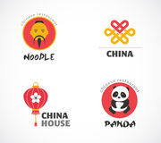 Chinese restaurant and coffee shops icons Royalty Free Stock Photo