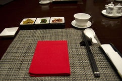 Chinese restaurant dining table setting Royalty Free Stock Photo