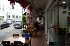 Restaurant outdoor seating Chinatown Singapore Stock Photography