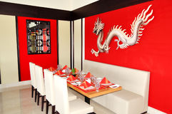 The Chinese restaurant interior of luxury hotel royalty free stock photography
