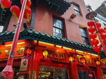 Chinese restaurant lanterns red food lunch dinner outside. Chinese restaurant lanterns red food lunch dinner Stock Photos