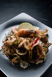Chinese restaurant menu seafood meal noodle prawn. Chinese cuisine restaurant menu meal. noodle prawn shrimp seafood and vegetable on a plate Royalty Free Stock Photography
