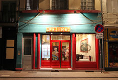 Chinese restaurant in Saint Etienne by night, France Royalty Free Stock Images