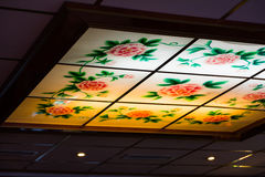 Chinese Restaurant Skylight Traditional Typical Flowers Roses Il Royalty Free Stock Photo