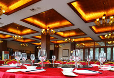Chinese restaurant. Chinese style restaurant with luxurious decoration. The background is blurred Royalty Free Stock Image