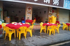 Chinese restaurants began to put the table and chairs Stock Images