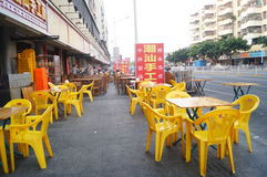 Chinese restaurants began to put the table and chairs Stock Photos