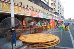 Chinese restaurants began to put the table and chairs. China restaurants began to put tables and chairs, ready to do business in Baoan, Shenzhen, Shajing street Stock Image