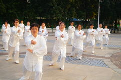 Chinese retired elderly collective performing Taijiquan Stock Image