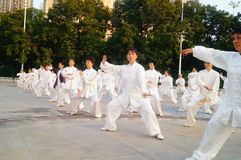 Chinese retired elderly collective performing Taijiquan Stock Photo