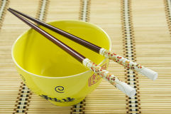 Chinese rice bowl and chopsticks Royalty Free Stock Images