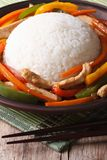 Chinese rice with chicken and vegetables close up vertical Royalty Free Stock Photography