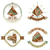 Chinese rice dumpling dragon boat festival icon set Stock Photos