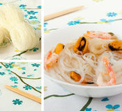 Chinese Rice Noodles And Seafood.Collage Stock Photos