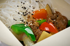 Chinese rice noodles, meat and oyster sauce Stock Photo