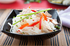 Chinese rice noodles and slices of tuna Royalty Free Stock Photos