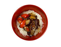 Chinese rice noodles with veal,eggplants Royalty Free Stock Images