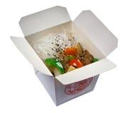 Chinese rijstnoedels, vlees en oestersaus Royalty-vrije Stock Afbeeldingen